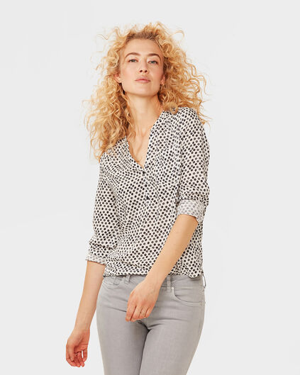 DAMES DOT PRINT BLOUSE Wit