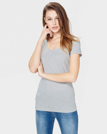 DAMES ORGANIC COTTON R-NECK T-SHIRT Lichtgrijs gemeleerd