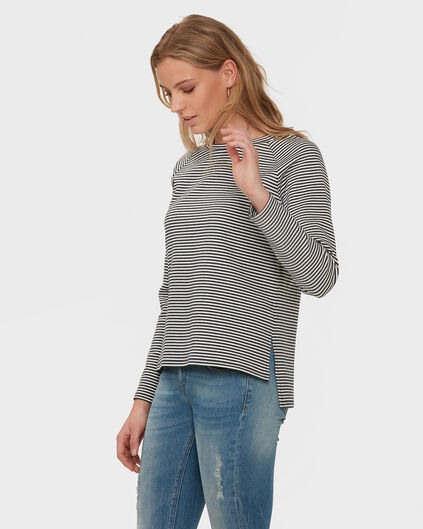 DAMES NAVY JACQUARD STRIPE SWEATER Marineblauw