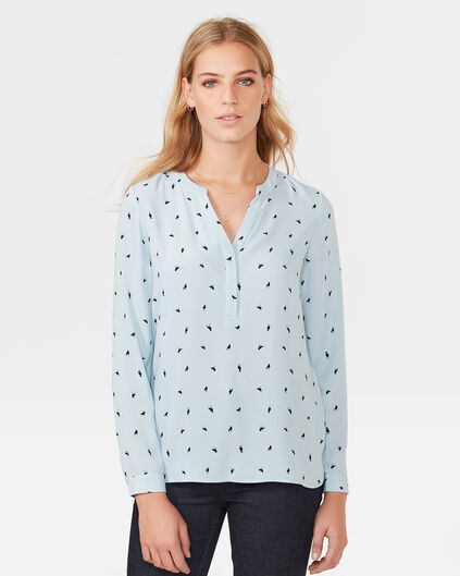 DAMES ALL-OVER ANIMAL PRINT BLOUSE Lichtblauw