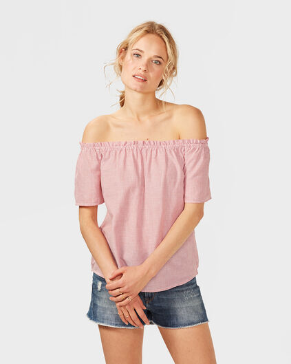 DAMES STRIPE OFF SHOULDER TOP Rood