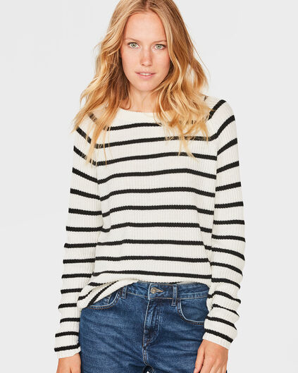 DAMES STRIPE PRINT TRUI Wit