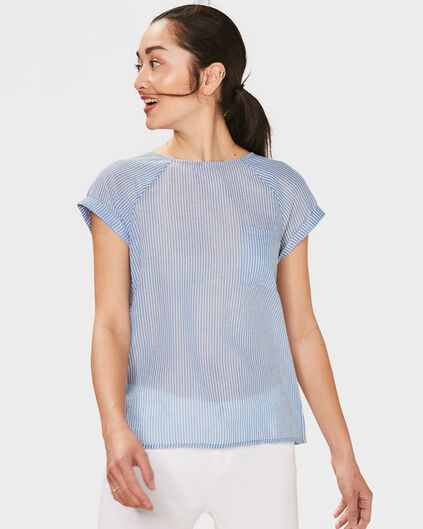 DAMES STRIPED TOP Lichtblauw