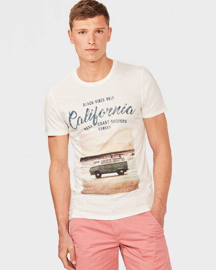 HEREN CALIFORNIA PRINT T-SHIRT Gebroken wit