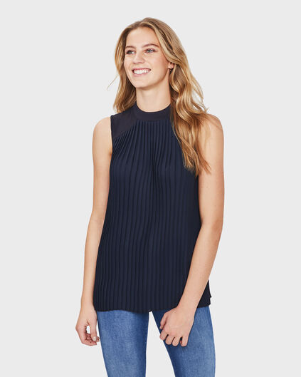 DAMES SLEEVELESS PLISSE TOP Donkerblauw