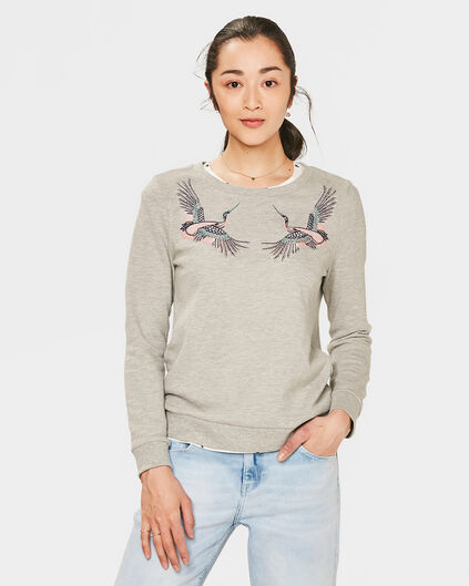 DAMES EMBROIDERY BIRD SWEATER Lichtgrijs