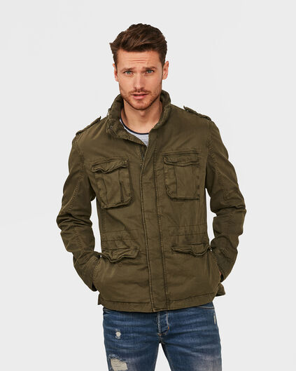 HEREN COTTON WORKER JACKET Legergroen