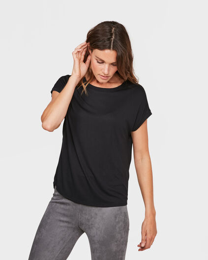 DAMES CONTRAST FABRIC TOP Zwart