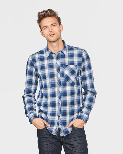 HEREN RELAXED FIT FLANEL CHECKED OVERHEMD Blauw