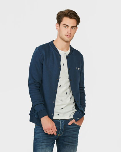 HEREN BOMBER SWEAT VEST Blauw