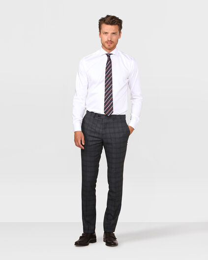 HEREN SLIM FIT CHECKED PANTALON TADEO Donkergrijs