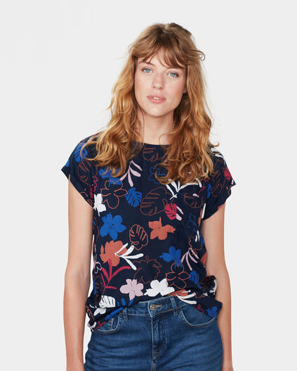 DAMES FLOWER PRINT TOP Blauw