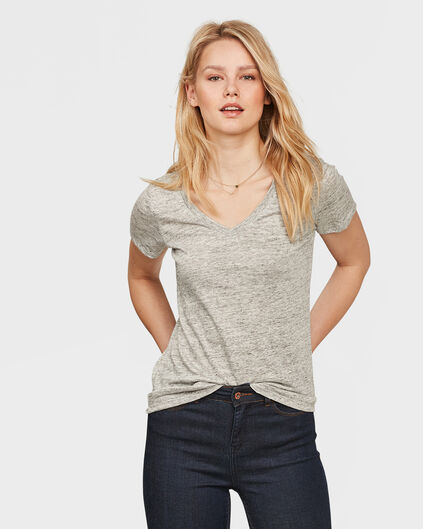 DAMES V-NECK LINEN T-SHIRT Grijs