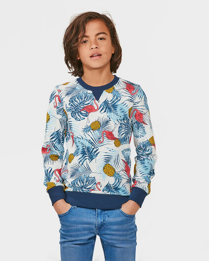JONGENS TROPICAL SWEATER Wit