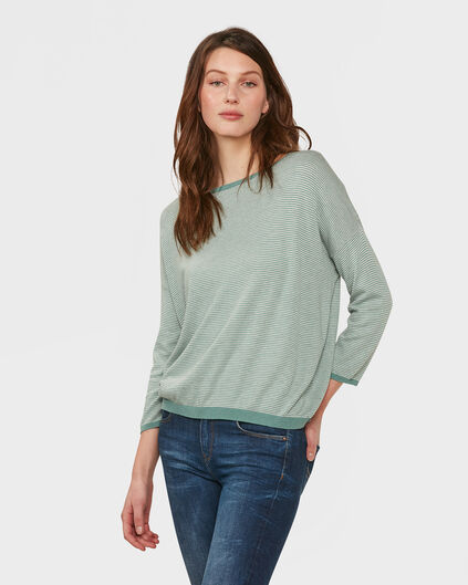 DAMES OVERSIZED STRIPE TRUI Groen