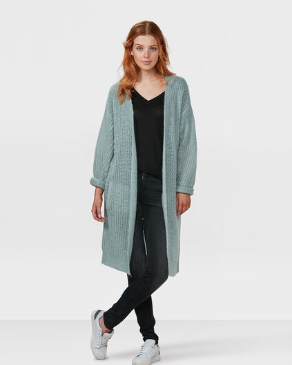 DAMES OVERSIZED LONG CHUNKY KNIT VEST Mintgroen