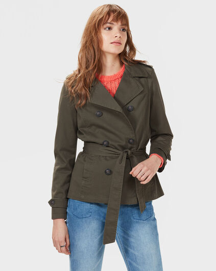 DAMES COTTON TRENCHCOAT Olijfgroen