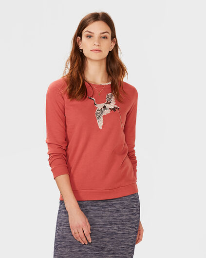 DAMES EMBROIDERY PINK BIRD SWEATER Donkerrood