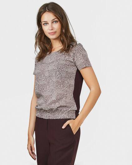 DAMES CONTRAST PRINT TOP Bordeauxrood