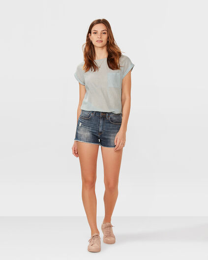 DAMES HIGH RISE DENIM SHORT Blauw