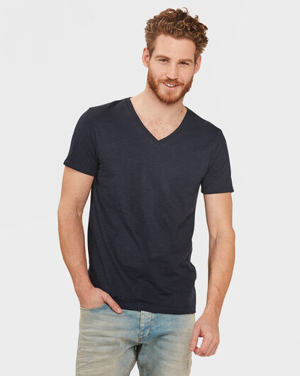 HEREN ORGANIC COTTON  V-NECK T-SHIRT Marineblauw