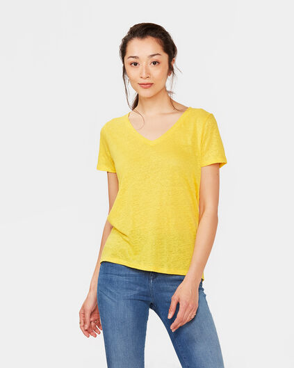 DAMES V-NECK LINEN T-SHIRT Geel