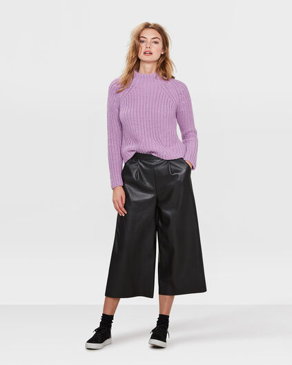 DAMES FAUX LEATHER CULOTTE BROEK Zwart