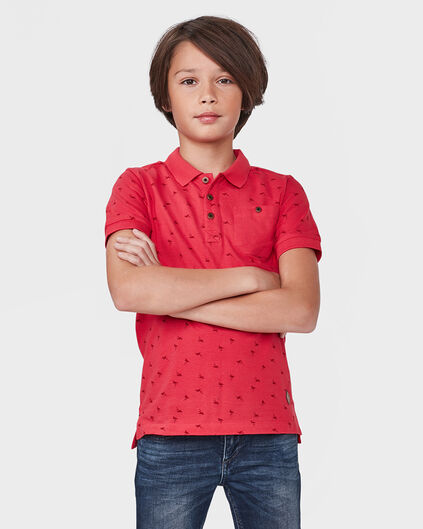 JONGENS ALL-OVER FLAMINGO PRINT POLO Rood