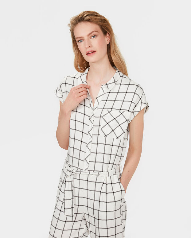 DAMES FLANNEL CHECKED JUMPSUIT Wit