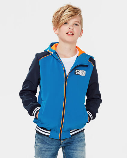 JONGENS SOFTSHELL HOODED JACKET Felblauw