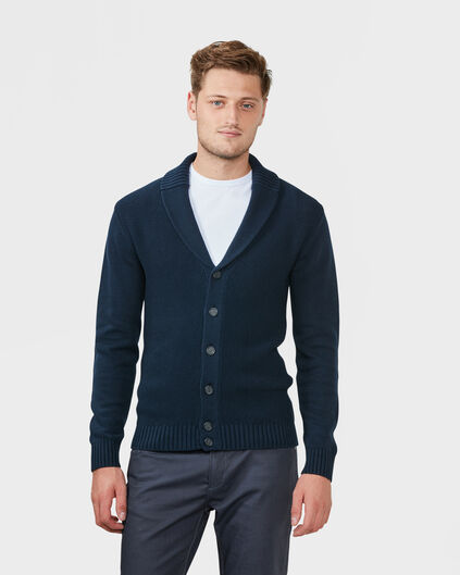 HEREN SHAWL COLLAR VEST Marineblauw