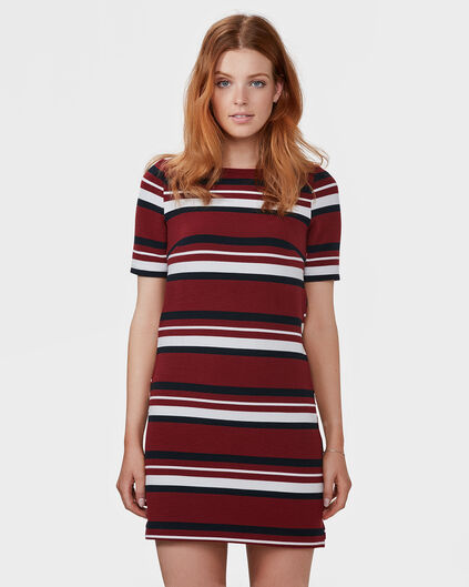 DAMES STRIPE JURK Bordeauxrood