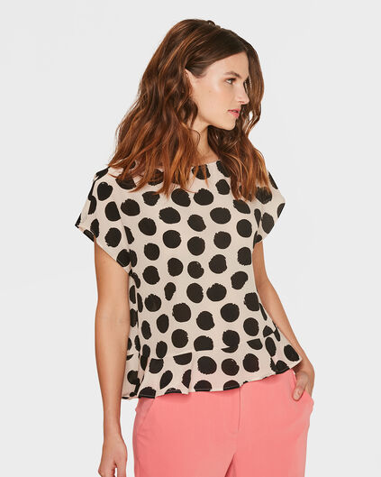 DAMES SILK LOOK POLKA DOT RUFFLE TOP Lichtroze