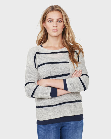 DAMES STRIPED KNIT TRUI Grijs