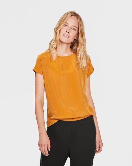 DAMES SOLID CUPRO TOP Mosterdgeel