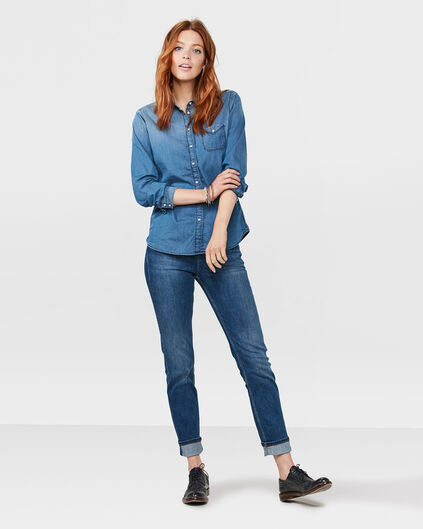 DAMES MID RISE SLIM STRAIGHT RECOVERY JEANS Donkerblauw