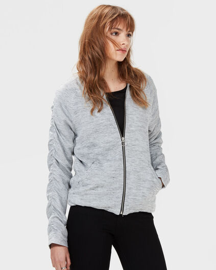 DAMES TEXTURED ZIP-UP BOMBERJACK Wit