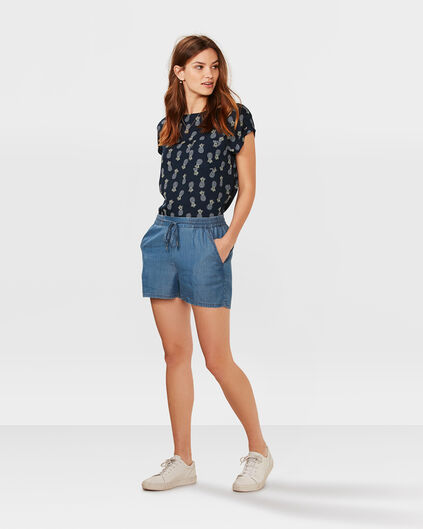 DAMES LYOCELL DENIM SHORT Blauw