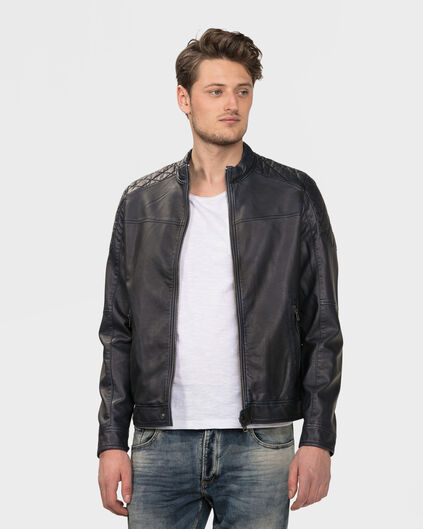 HEREN LEATHER LOOK BIKER JACKET Donkerblauw