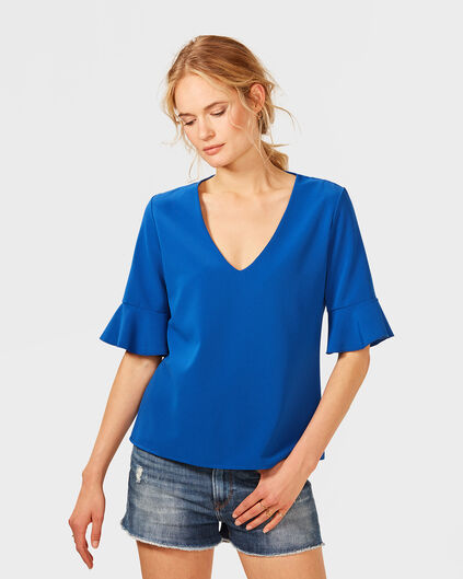 DAMES RUFFLE DETAIL TOP Kobaltblauw