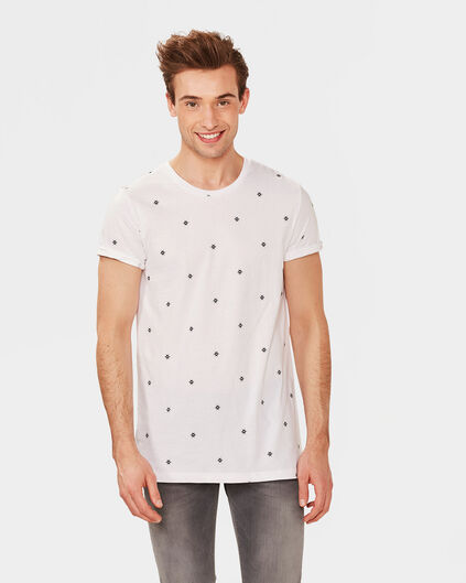 HEREN EXTRA LONG FIT PRINT T-SHIRT Wit