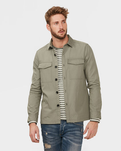 HEREN RELAXED FIT WORKER SHIRT JACKET Legergroen