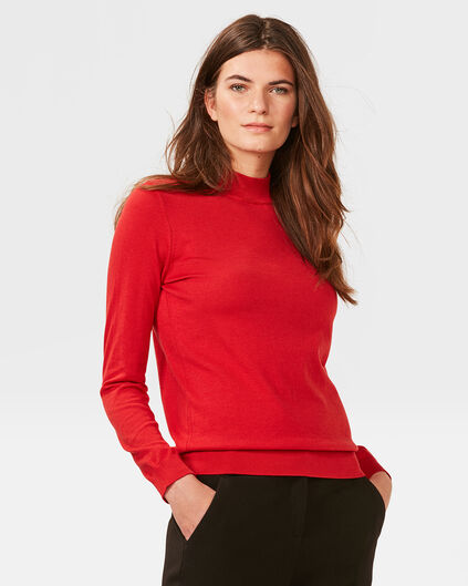 DAMES FINE KNIT COL-NECK TRUI Saffraan rood