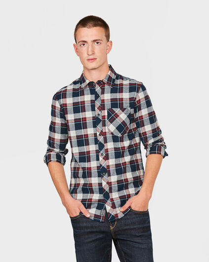 HEREN RELAXED FIT FLANEL CHECK OVERHEMD Bordeauxrood