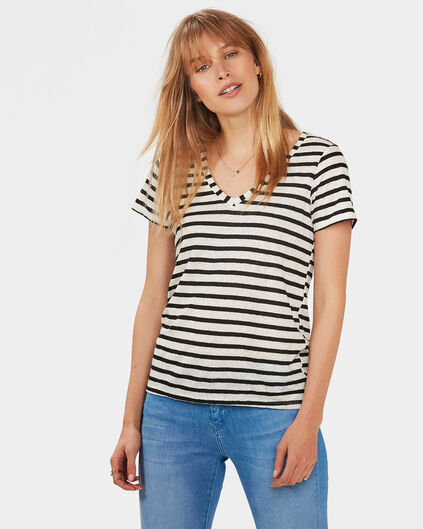 DAMES V-NECK LINEN T-SHIRT Zwart