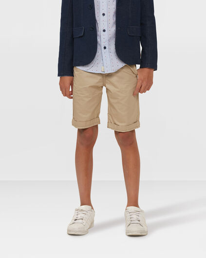 JONGENS REGULAR FIT GARMENT DYE CHINO SHORT Beige