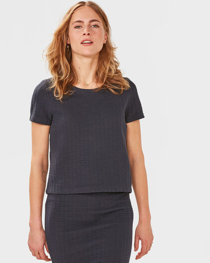 DAMES JAQUARD TOP Marineblauw