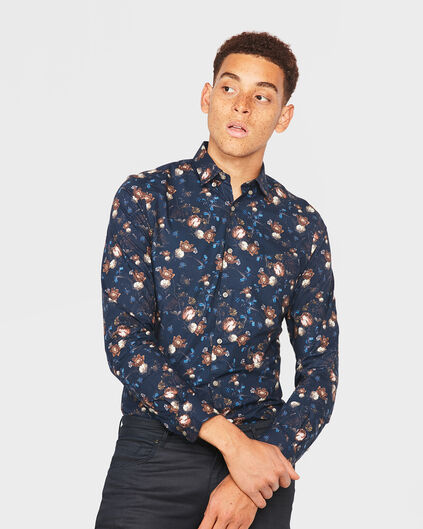 HEREN SLIM FIT FLOWER PRINT OVERHEMD Marineblauw