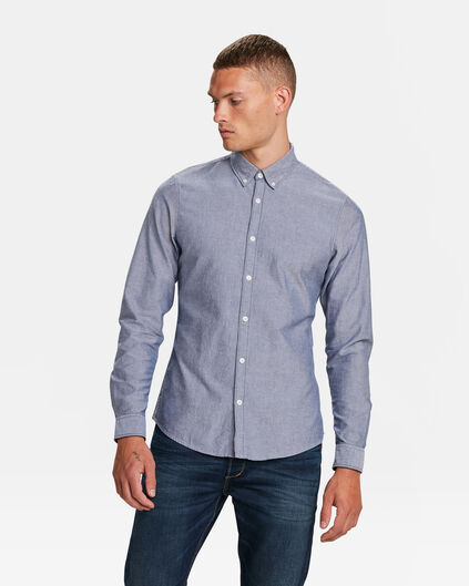HEREN SLIM FIT OXFORD OVERHEMD Donkerblauw
