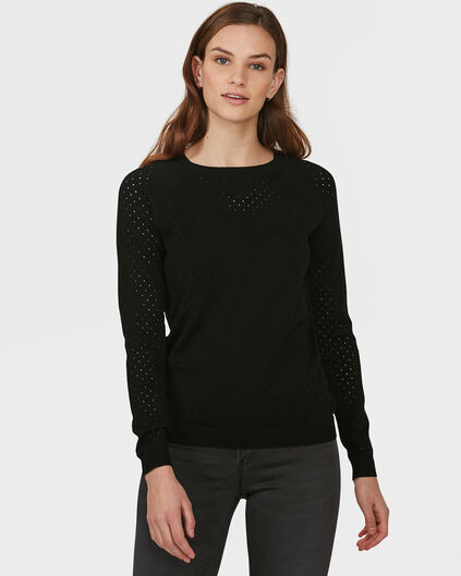 DAMES PERFORATED DESSIN SWEATER Zwart